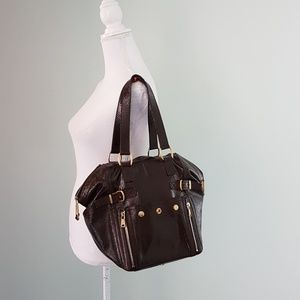 YSL Downtown bag in brown patent leather